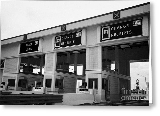 Receipt Greeting Cards - Florida Highway Interstate Toll Booths Plaza Usa Greeting Card by Joe Fox