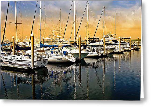 Blue Sailboats Greeting Cards - Florida Seascape Greeting Card by Anthony Dezenzio