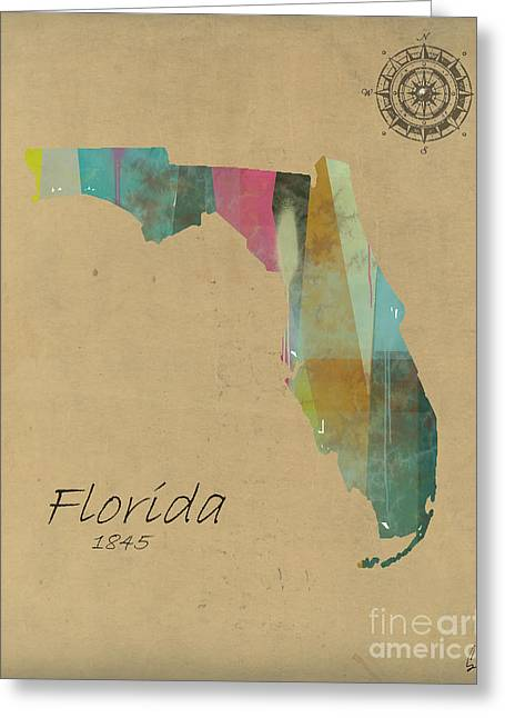 World Digital Map Greeting Cards - Florida State Map Greeting Card by Bri Buckley