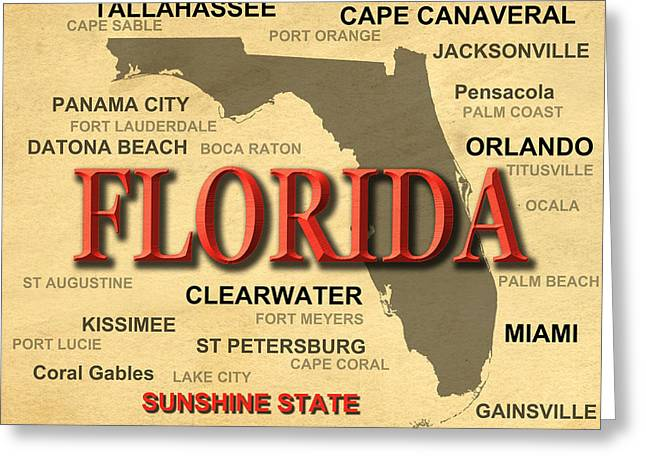 Fort Meyers Greeting Cards - Florida State Pride Map Silhouette  Greeting Card by Keith Webber Jr