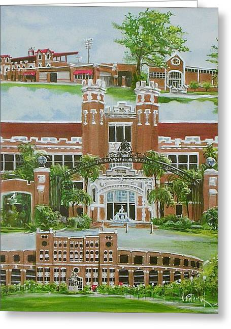 Baseball Stadiums Paintings Greeting Cards - Florida State University Greeting Card by Nancy Raborn