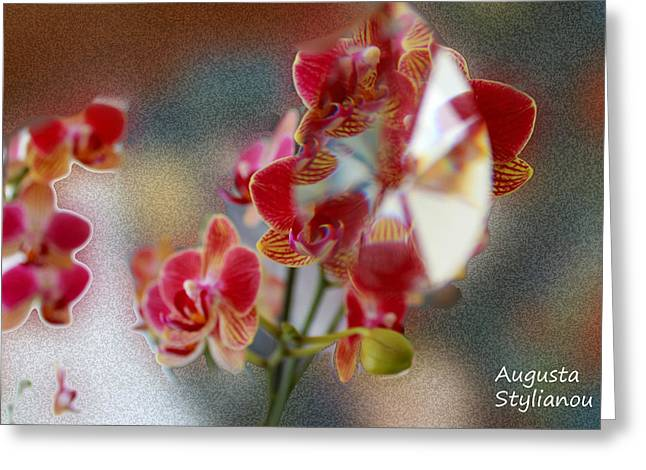 Silver Turquoise Greeting Cards - Flower Cubism Greeting Card by Augusta Stylianou