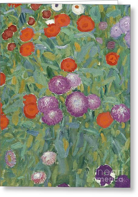 Leafy Greeting Cards - Flower Garden Greeting Card by Gustav Klimt