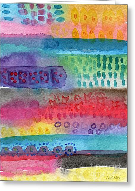 Lines Mixed Media Greeting Cards - Flower Garden Greeting Card by Linda Woods
