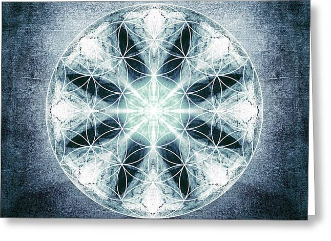 Sacred Digital Greeting Cards - Flower of Life Greeting Card by Filippo B