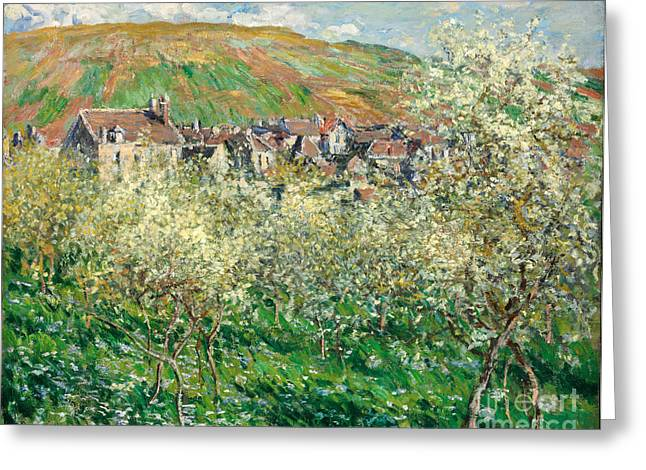 Vintage Painter Greeting Cards - Flowering Plum Trees Greeting Card by Claude Monet