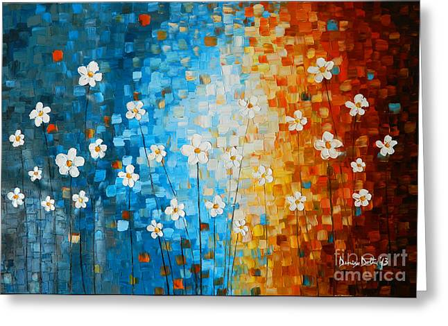 Shades Of Red Greeting Cards - Flowers After Rain Greeting Card by Denisa Laura Doltu