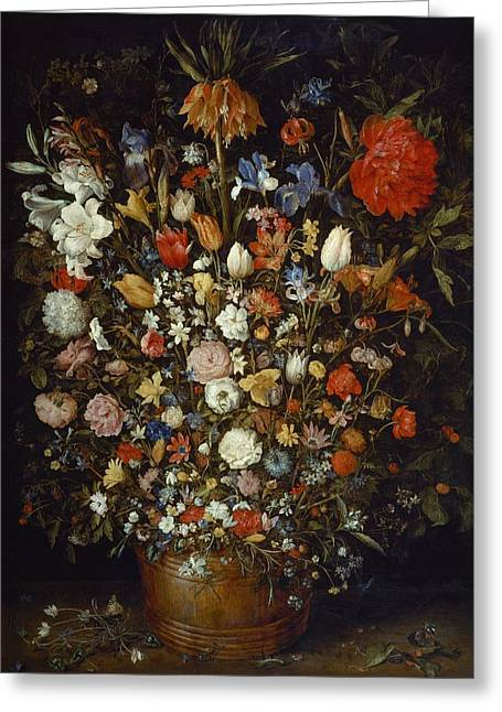 Holy Vessels Greeting Cards - Flowers in a Wooden Vessel Greeting Card by Jan Brueghel the Elder