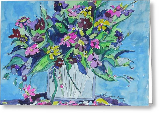 Abstract Nature Greeting Cards - Flowers in Blue and Purple Greeting Card by Esther Newman-Cohen