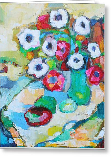Pallet Knife Greeting Cards - Flowers in Green Vase Greeting Card by Becky Kim