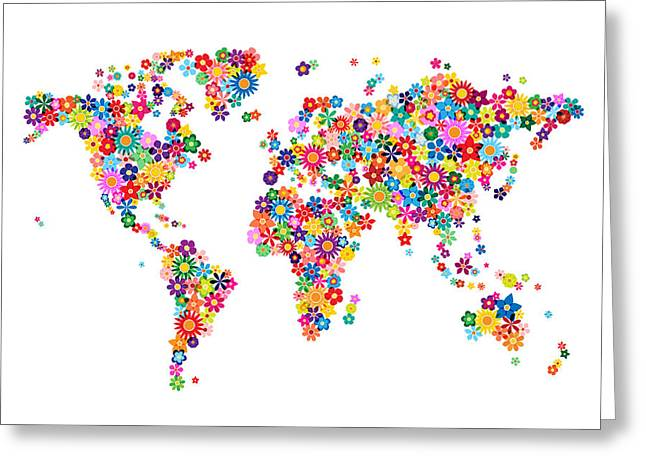 Cartography Digital Art Greeting Cards - Flowers Map of the World Map Greeting Card by Michael Tompsett