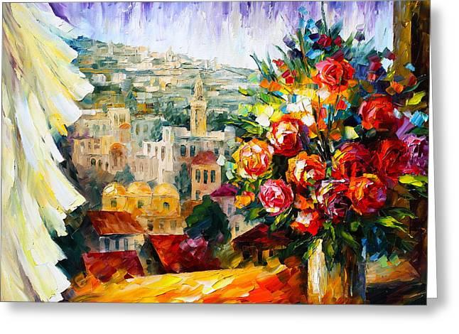 Judaic Greeting Cards - Flowers of Jerusalem Greeting Card by Leonid Afremov