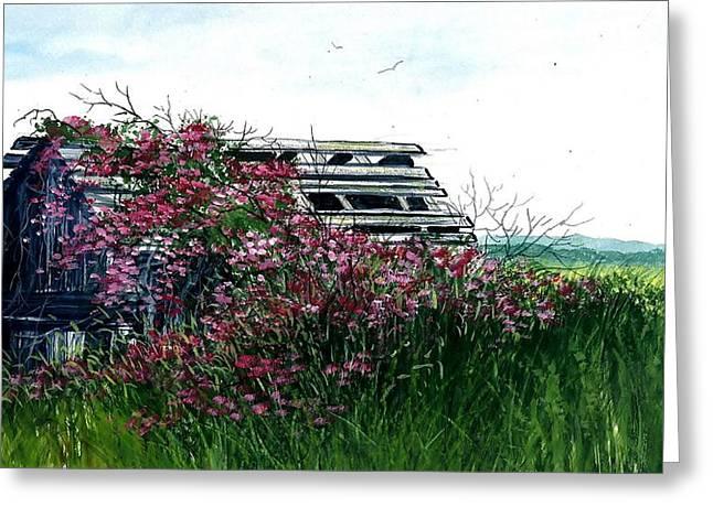 Award Winning Art Greeting Cards - Flowers Over Barn Greeting Card by Steven Schultz