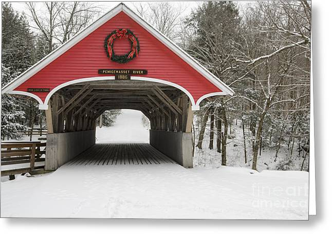 White River Scene Greeting Cards - Flume Covered Bridge - White Mountains New Hampshire USA Greeting Card by Erin Paul Donovan