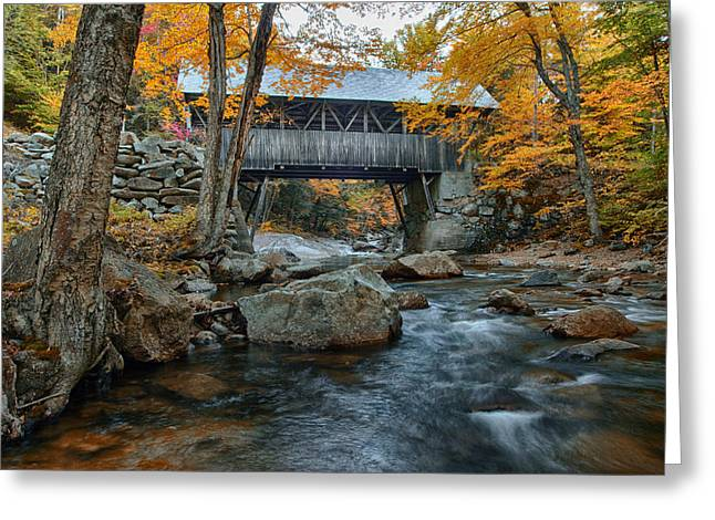 Folgers Greeting Cards - Flume Gorge covered bridge Greeting Card by Jeff Folger