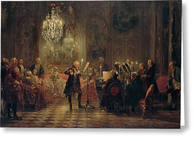 Menzel Greeting Cards - Flute Concert with Frederick the Great in Sanssouci Greeting Card by Celestial Images