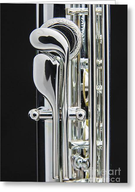 Flute Greeting Cards - Flute instrument Thumb Keys Photograph in Color 3450.02 Greeting Card by M K  Miller