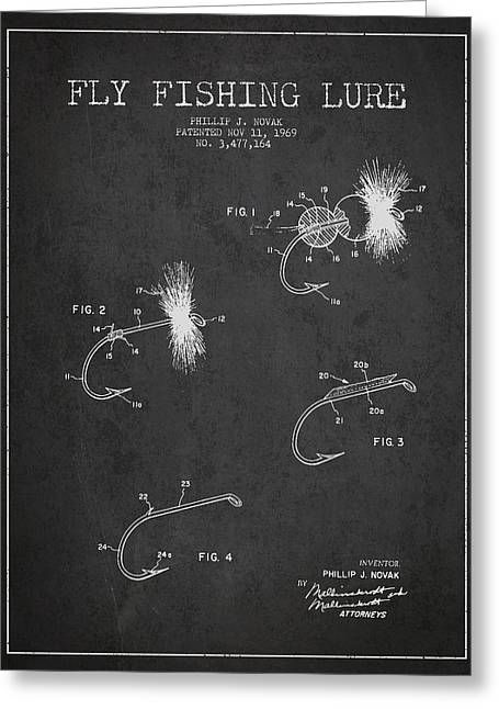 Fishing Greeting Cards - Fly Fishing Lure Patent Drawing from 1969 Greeting Card by Aged Pixel