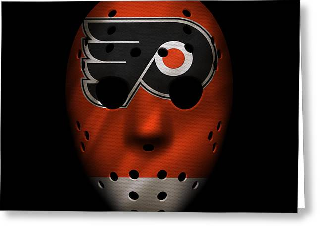 Philadelphia Flyers Greeting Cards - Flyers Jersey Mask Greeting Card by Joe Hamilton