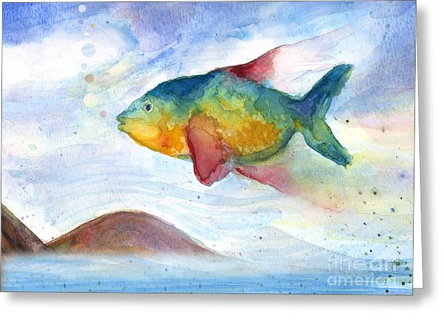 Levi Greeting Cards - Flying Fish Greeting Card by Stella Levi