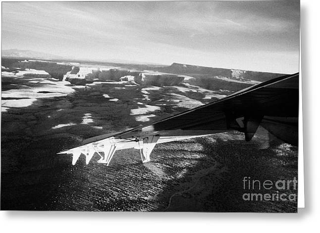 Us Open Photographs Greeting Cards - flying over land approaches to the rim of the grand canyon Arizona USA Greeting Card by Joe Fox