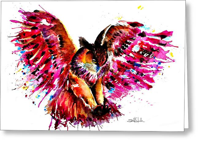 Nocturnal Animal Print Greeting Cards - Flying Owl Greeting Card by Isabel Salvador