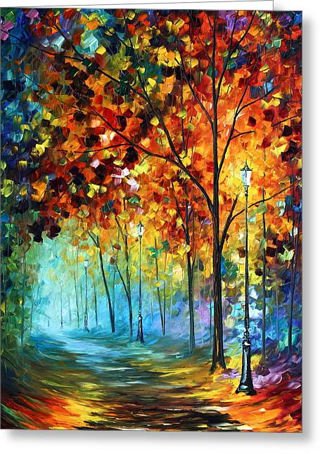 Original Oil Paintings Greeting Cards - Fog Alley Greeting Card by Leonid Afremov