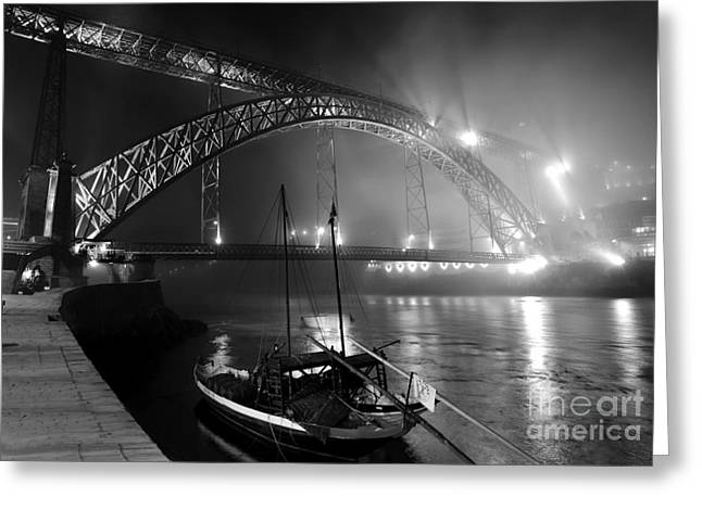 D.w Greeting Cards - Fog over the Pier and Iconic Bridge - O Porto - Portugal Greeting Card by Carlos Alkmin