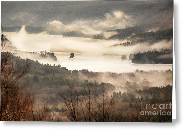 Reservoir Greeting Cards - Foggy Reservoir Greeting Card by HD Connelly