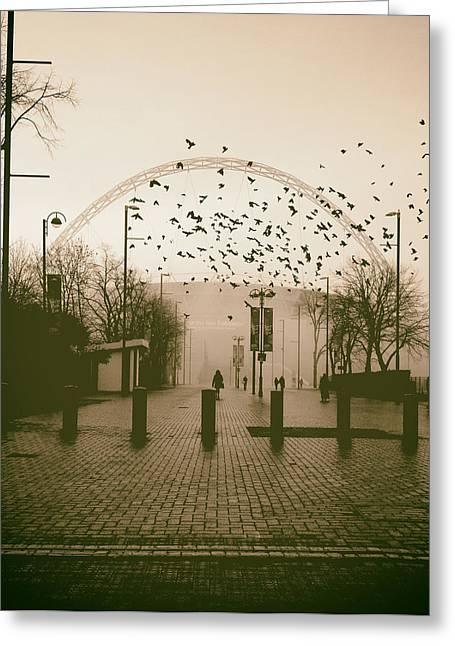Moist Greeting Cards - Foggy Walk Toward Wembley Stadium Greeting Card by Mountain Dreams
