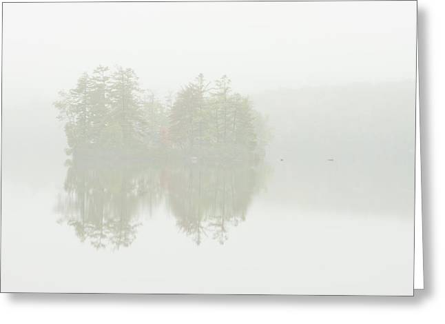 Foggy Landscape Greeting Cards - Foggy Weather And Fall Colors on Flying Pond Vienna Maine Greeting Card by Keith Webber Jr