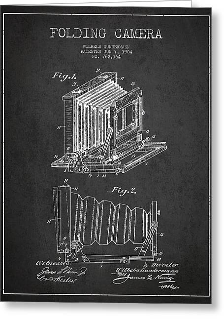 Decor Photography Greeting Cards - Folding Camera Patent Drawing from 1904 Greeting Card by Aged Pixel
