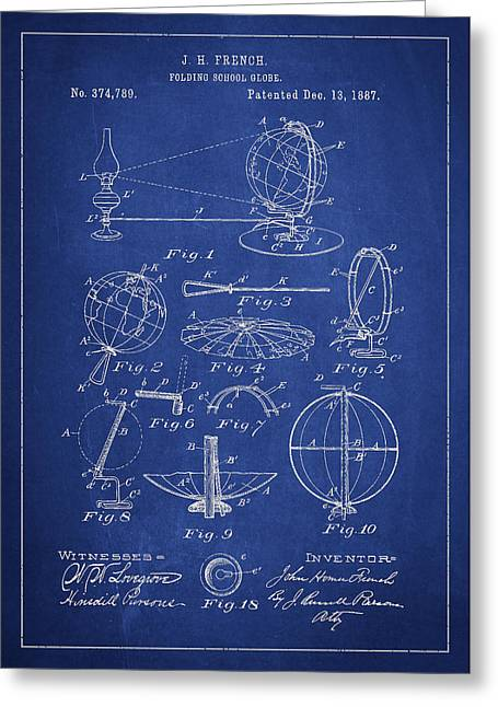 Continent Digital Greeting Cards - Folding School Globe Patent Drawing From 1887 Greeting Card by Aged Pixel
