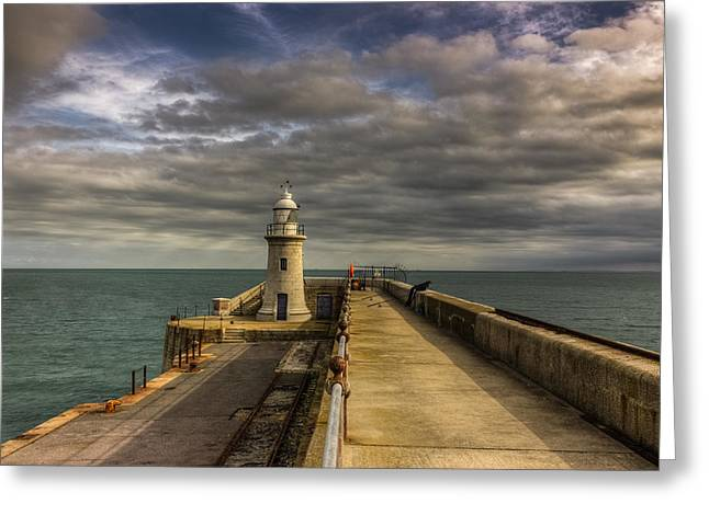 Fishing Port Greeting Cards - Folkestone lighthouse Greeting Card by Ian Hufton