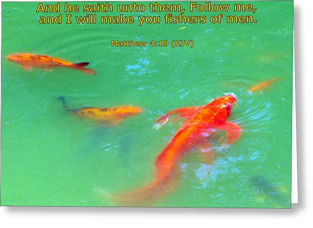 Fish Christian Art Prints Greeting Cards - Follow Me Greeting Card by Sheri McLeroy