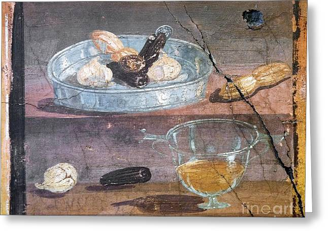 Glass Wall Greeting Cards - Food And Glass Dishes, Roman Fresco Greeting Card by Sheila Terry