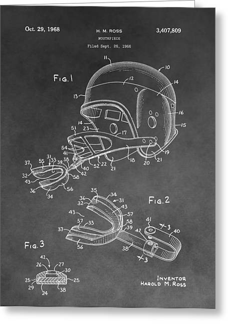 National Football League Greeting Cards - Football Helmet Patent Greeting Card by Dan Sproul