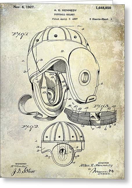 Football Photographs Greeting Cards - Football Helmet Patent Greeting Card by Jon Neidert
