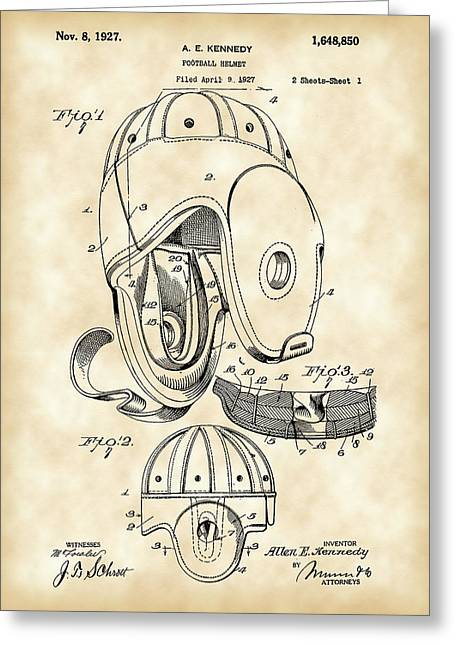National Football League Greeting Cards - Football Helmet Patent 1927 - Vintage Greeting Card by Stephen Younts