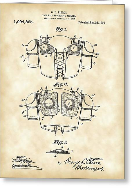 National Football League Greeting Cards - Football Shoulder Pads Patent 1913 - Vintage Greeting Card by Stephen Younts