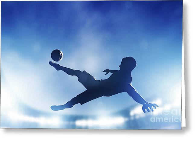 Bicycle Kick Greeting Cards - Football soccer match A player shooting on goal Greeting Card by Michal Bednarek