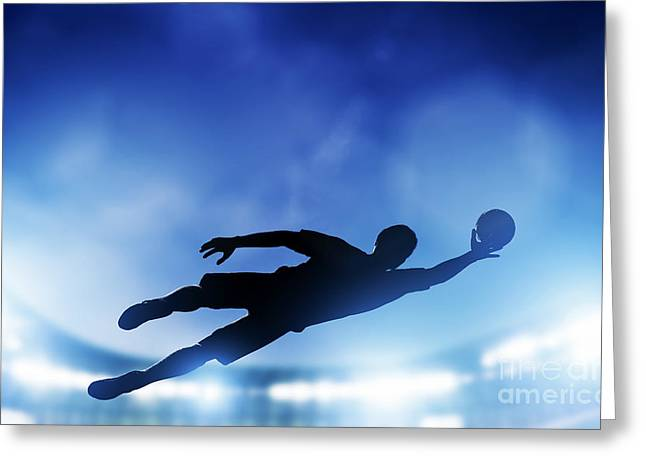 Goalkeeper Greeting Cards - Football soccer match Greeting Card by Michal Bednarek