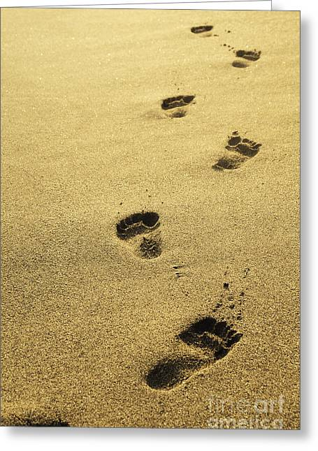Sea Pyrography Greeting Cards - Footprints in the sand Greeting Card by Jelena Jovanovic