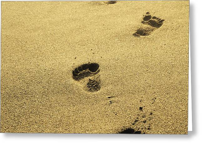 Footprints in the sand Greeting Card by Jelena Jovanovic