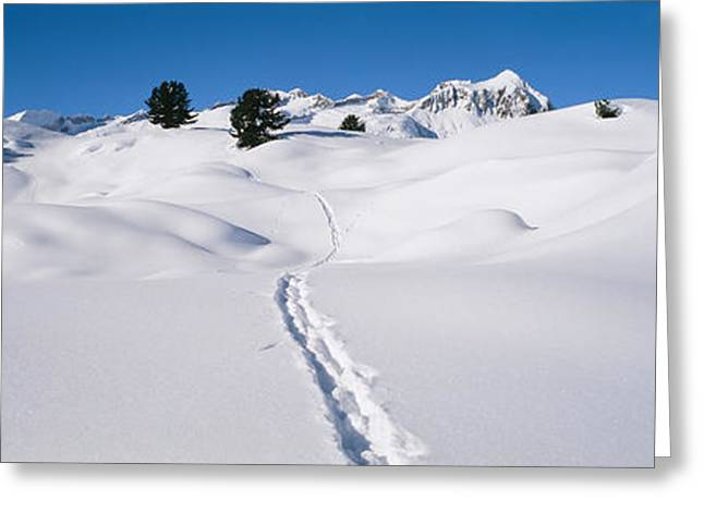 Valais Canton Greeting Cards - Footprints On A Snow Covered Landscape Greeting Card by Panoramic Images
