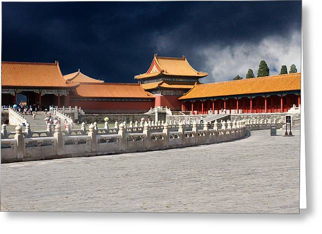 Overcast Day Greeting Cards - Forbidden City Greeting Card by Robert Hebert