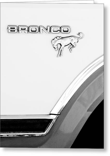 Broncos Greeting Cards - Ford Bronco Emblem Greeting Card by Jill Reger