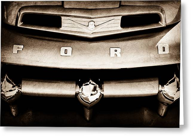 Classic Pickup Truck Greeting Cards - Ford F-1 Pickup Truck Grille Emblem Greeting Card by Jill Reger