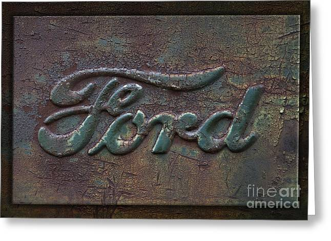 Rusty Pickup Truck Greeting Cards - Ford Letters Detail Old Rusty Pickup Truck Emblem Greeting Card by John Stephens