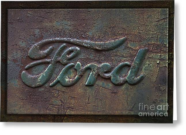 Tough Greeting Cards - Ford Letters Detail Old Rusty Pickup Truck Emblem Greeting Card by John Stephens
